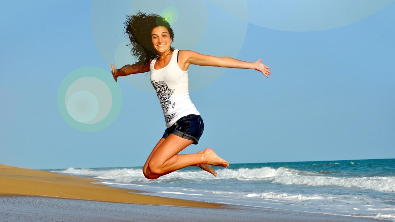 Bewegung Sport Übung Strand Springen